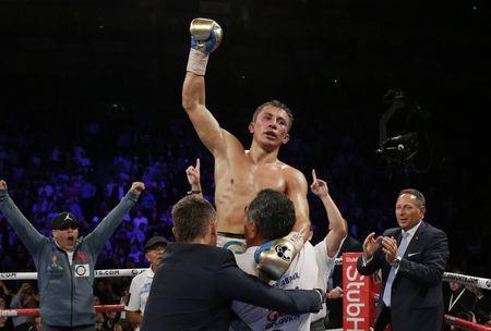 Britain Boxing - Gennady Golovkin v Kell Brook WBC, IBF & IBO World Middleweight Titles - The O2 Arena, London - 10/9/16. Gennady Golovkin celebrates his win. Action Images via Reuters / Andrew Couldridge