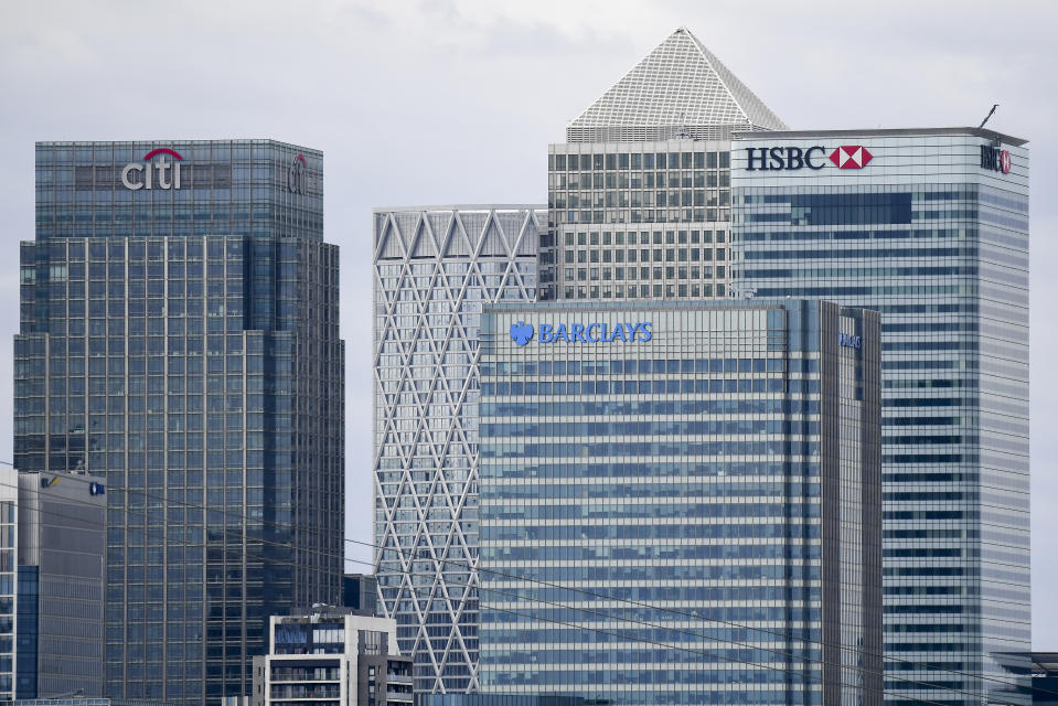 General view of the now empty Canary Wharf' skyscrapers in London, Thursday, April 2, 2020.The new coronavirus causes mild or moderate symptoms for most people, but for some, especially older adults and people with existing health problems, it can cause more severe illness or death.(AP Photo/Alberto Pezzali)