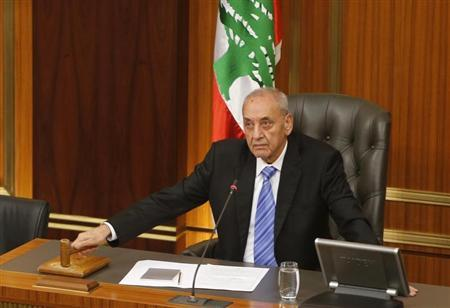Lebanese parliament speaker Berri strikes gavel at end of parliamentary session in parliament in Beirut