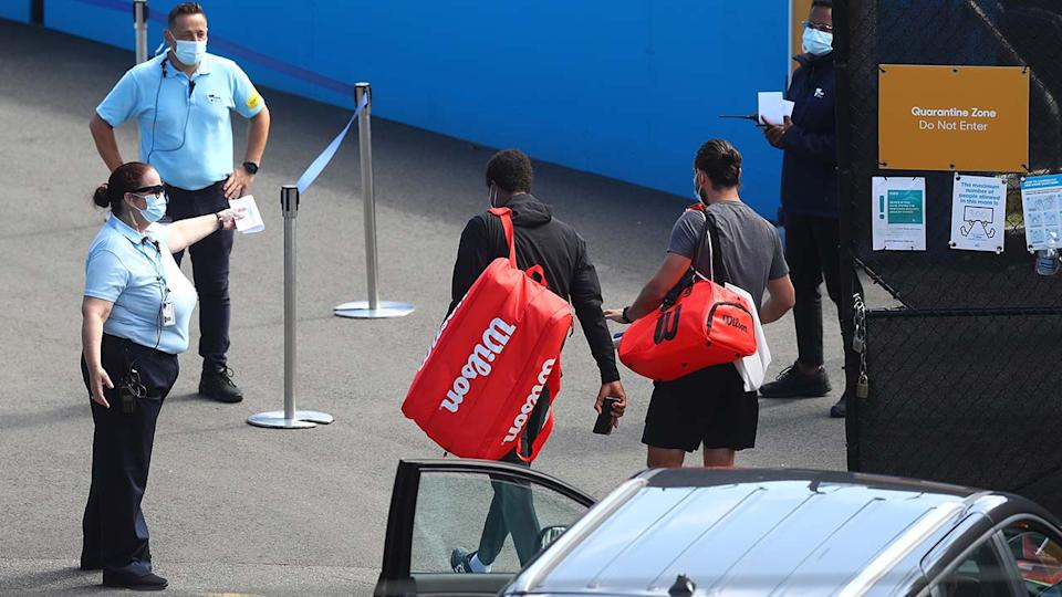 Tennis players, pictured here arriving at Melbourne Park during their five-hour window.