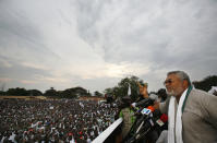 FILE - In this Friday, Dec. 5, 2008 file photo, former Ghanaian President Jerry Rawlings speaks at the final campaign rally for opposition presidential candidate John Atta Mills, in Tema, Ghana. Ghana's former president Jerry Rawlings, who staged two coups and later led the West African country's transition to a stable democracy, has died aged 73, according to the state's Radio Ghana and the president Thursday, Nov. 12, 2020. (AP Photo/Rebecca Blackwell, File)