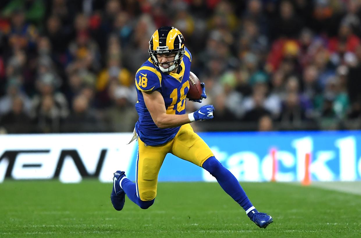 Cooper Kupp of Los Angeles Rams had a touchdown overturned, but the Rams kept the ball. (Photo by Alex Davidson/Getty Images)
