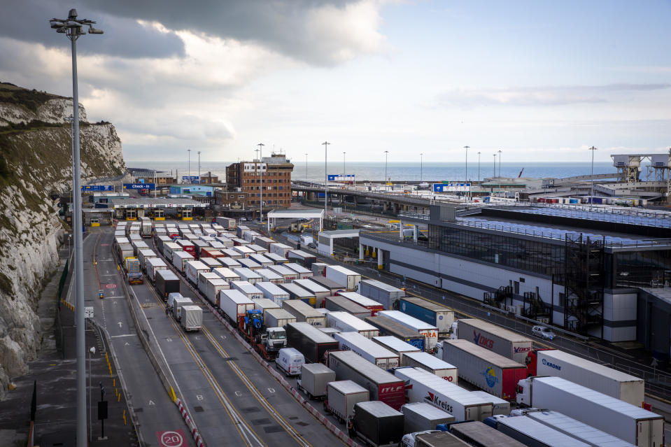 Lorries line up at Frontier control barriers for departure inside the Eastern Dock of the Port of Dover is where the cross channel port is situated with ferries departing here to go to Calais in France on the 29th of September 2020, Dover, Kent, United Kingdom. Dover is the nearest port to France with just 34 kilometres (21 miles) between them. It is one of the busiest ports in the world. As well as freight container ships it is also the main port for P&O and DFDS Seaways ferries.  (photo by Andrew Aitchison / In pictures via Getty Images)