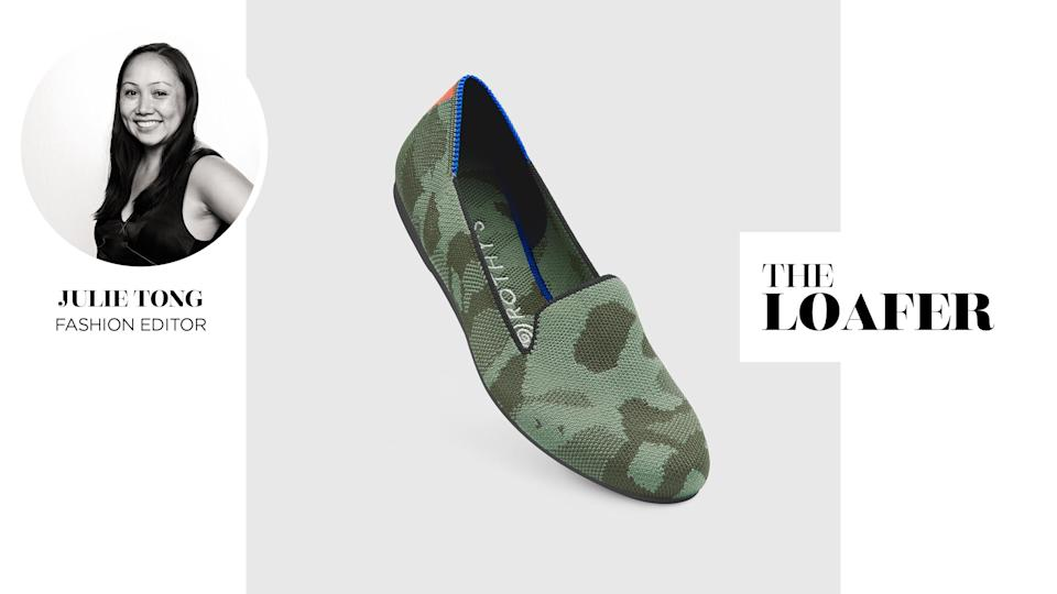 Yahoo Lifestyle Fashion Editor Julie Tong reviews Rothy's Loafer in Olive Camo. (Photo: Rothy's)
