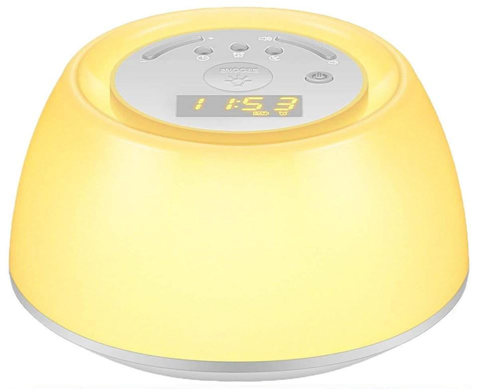 """<strong><h3><a href=""""https://www.amazon.com/dp/B079CFKMS3/ref=sspa_dk_detail_4"""" rel=""""nofollow noopener"""" target=""""_blank"""" data-ylk=""""slk:Thpoplete Wake-Up Light Alarm Clock"""" class=""""link rapid-noclick-resp"""">Thpoplete Wake-Up Light Alarm Clock</a></h3></strong><br>This portable model can be charged to last for up to 120 hours with adjustable light, color, and sound modes for a gentle wakeup wherever you go.<br><br><strong>Thpoplete</strong> Wake Up Light Alarm Clock, $, available at <a href=""""https://amzn.to/31Aztju"""" rel=""""nofollow noopener"""" target=""""_blank"""" data-ylk=""""slk:Amazon"""" class=""""link rapid-noclick-resp"""">Amazon</a>"""
