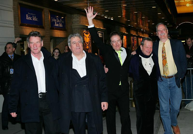 NEW YORK - MARCH 17: The original members of Monty Python Michael Palin, Terry Jones, Eric Idle, Terry Gilliam and John Cleese attend the opening night of 'Monty Python's Spamalot' at the Shubert Theatre March 17, 2005 in New York City. (Photo by Evan Agostini/Getty Images)