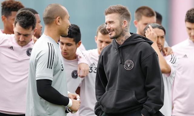 """<span class=""""element-image__caption"""">David Beckham talks with Luis Robles after the goalkeeper was named as Inter Miami's captain.</span> <span class=""""element-image__credit"""">Photograph: Michael Reaves/Getty Images</span>"""
