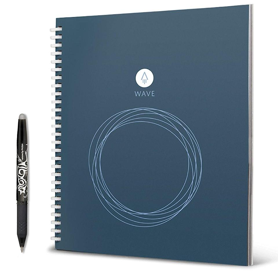 """<p>Like no other notebook that your friends have ever used, this reusable Rocketbook Wave Smart Notebook can blast their handwritten notes to Google Docs, DropBox, iCloud, Evernote, and email. And the best (and most novel) part is that they can erase any writing by popping the journal into the microwave. They don't have to be a student to find this incredibly useful — it's the best of manual and electronic worlds.</p> <p><strong>$27</strong> (<a href=""""https://www.amazon.com/Rocketbook-Wave-Smart-Notebook-Standard/dp/B01GU6TINM"""" rel=""""nofollow noopener"""" target=""""_blank"""" data-ylk=""""slk:Shop Now"""" class=""""link rapid-noclick-resp"""">Shop Now</a>)</p>"""