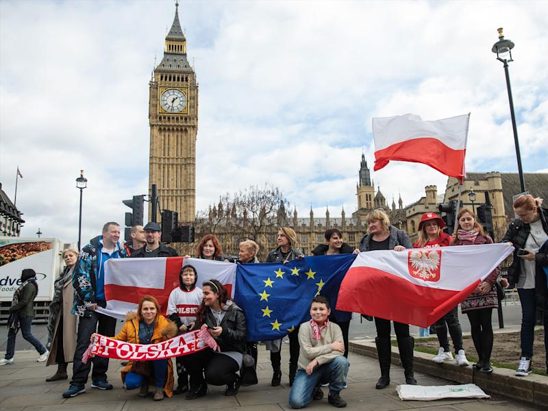 EU nationals and their supporters demonstrate outside Parliament: Getty