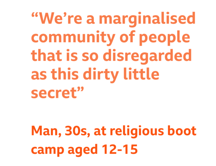 """Quote - """"We're a marginalised community of people that is so disregarded as this dirty little secret"""" - Man, 30s, at religious boot camp aged 12-15"""