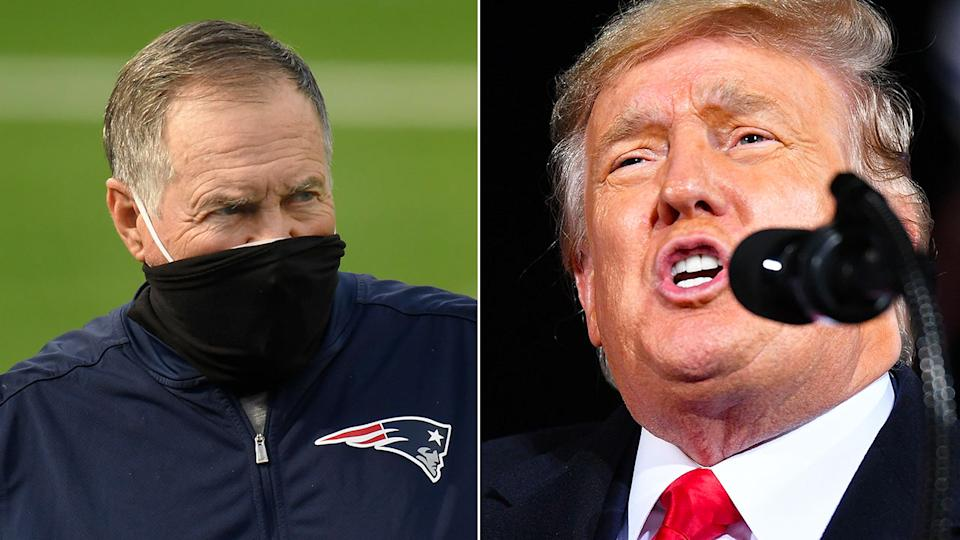 Pictured here, New England Patriots coach Bill Belichick and former US President Donald Trump.