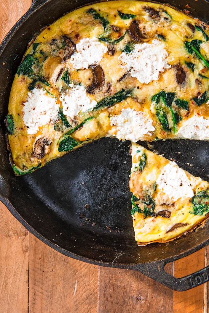 """<p>There are so many easy ways to dress this up! Add extra veggies, ham, bacon...whatever she likes.</p><p>Get the recipe from <a href=""""https://www.delish.com/cooking/recipe-ideas/a24229816/frittata-recipe/"""" rel=""""nofollow noopener"""" target=""""_blank"""" data-ylk=""""slk:Delish"""" class=""""link rapid-noclick-resp"""">Delish</a>.</p>"""