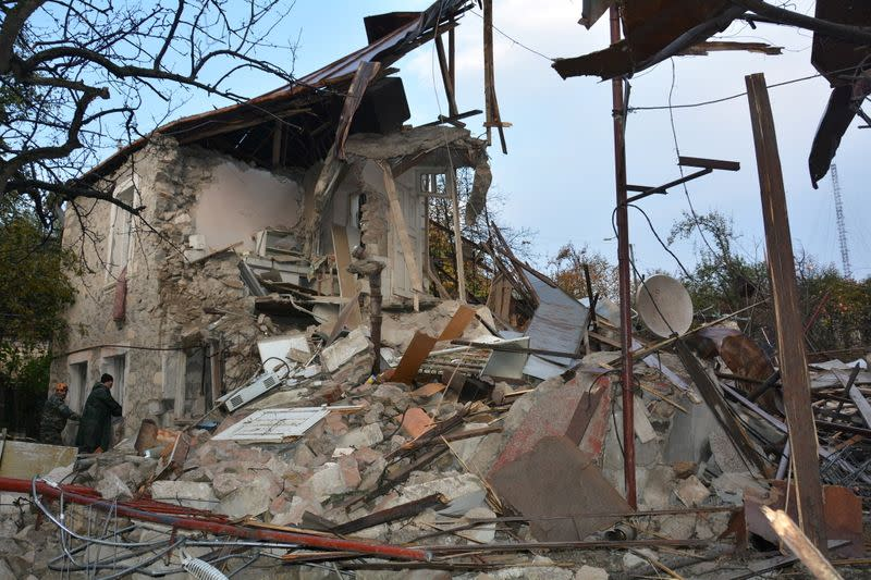 A view shows the aftermath of recent shelling in Stepanakert
