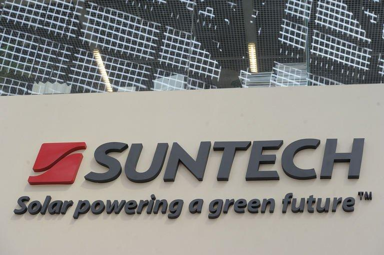 The company sign outside of Chinese company Suntech in the eastern Chinese city of Wuxi on February 27, 2012