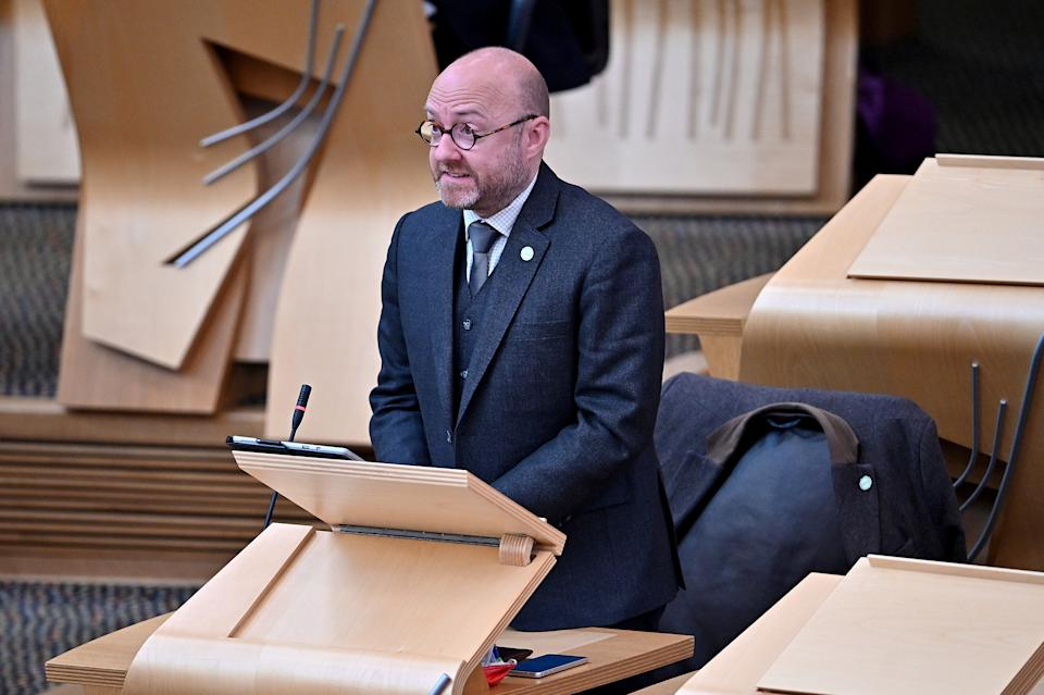 Patrick Harvie, co-leader of the Scottish Green Party speaks during a motion of condolence for late Britain's Prince Philip at the Scottish Parliament in Edinburgh, Scotland, Britain April 12, 2021. Jeff J Mitchell/Pool via REUTERS