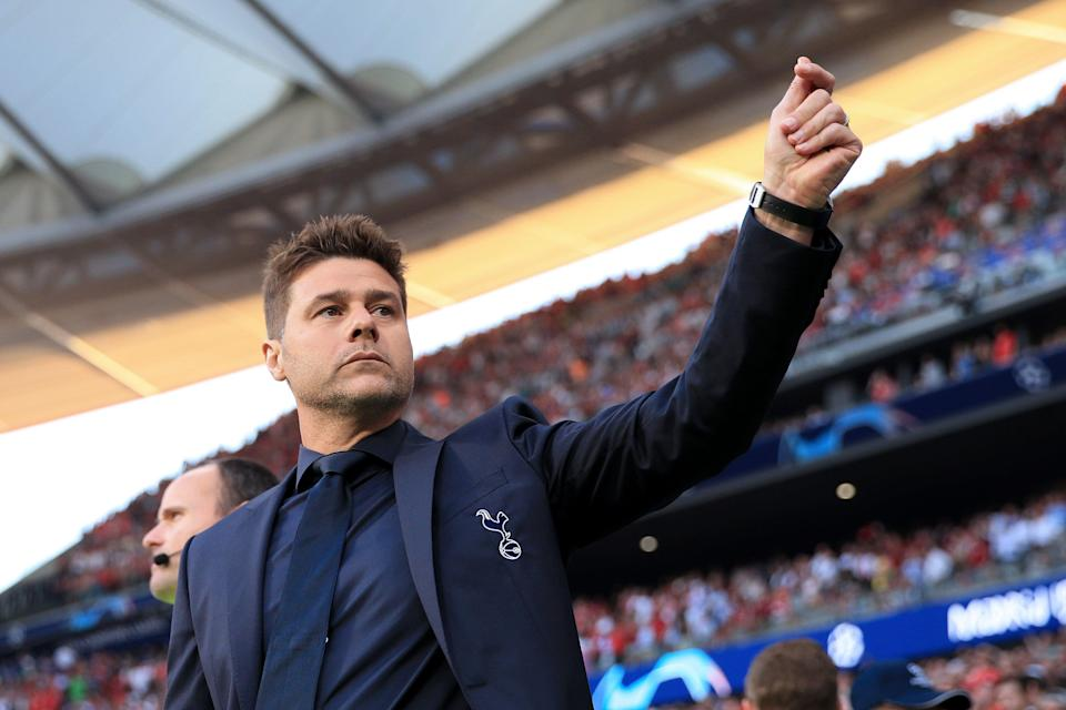 MADRID, SPAIN - JUNE 01: Spurs manager Mauricio Pochettino gestures during the UEFA Champions League Final between Tottenham Hotspur and Liverpool at Estadio Wanda Metropolitano on June 1, 2019 in Madrid, Spain. (Photo by Simon Stacpoole/Offside/Getty Images)