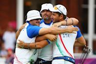 (L-R) Marco Galiazzo, Michele Frangilli and Mauro Nespoli of Italy celebrate after victory in the Men's Team Archery semi final on Day 1 of the London 2012 Olympic Games at Lord's Cricket Ground on July 28, 2012 in London, England. (Photo by Paul Gilham/Getty Images)