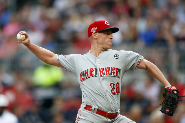 Cincinnati Reds starting pitcher Anthony DeSclafani works in the first inning of the team's baseball game against the Atlanta Braves on Thursday, Aug. 1, 2019, in Atlanta. (AP Photo/John Bazemore)