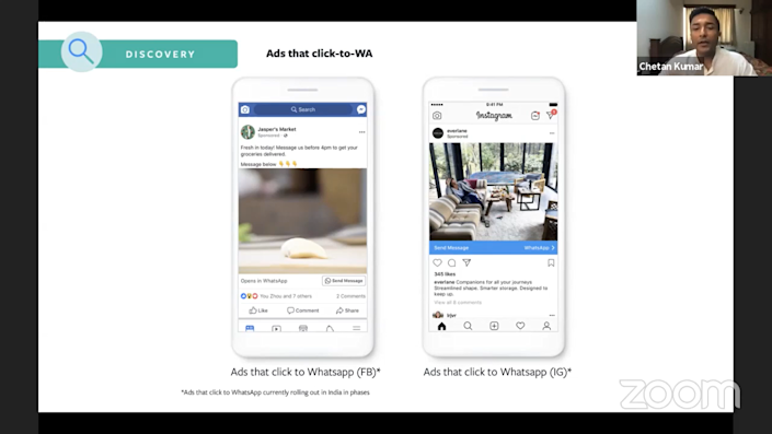 The app steers clear of direct display of ads for security reasons and to avoid spamming. However,  clicking on ads on Facebook and Instagram can lead users directly to WhatsApp.