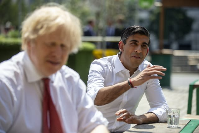 Prime Minister Boris Johnson (left) and Chancellor of the Exchequer Rishi Sunak (Heathcliff O'Malley/PA)