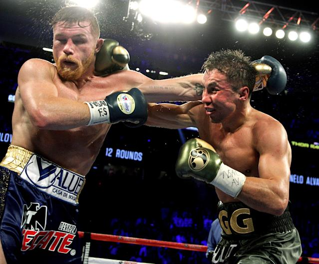 Gennady Golovkin (R) and Mexican star Canelo Alvarez fought to a controversial split draw on Sept. 16, 2017, at T-Mobile Arena in Las Vegas. (Getty Images)