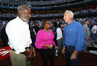 <p>David Robinson, Sharon Robinson and Hall of Famer Sandy Koufax are seen on field before Game 1 of the 2017 World Series between the Houston Astros and the Los Angeles Dodgers at Dodger Stadium on Tuesday, October 24, 2017 in Los Angeles, California. (Photo by Alex Trautwig/MLB Photos via Getty Images) *** Local Caption *** David Robinson, Sharon Robinson, Sandy Koufax </p>