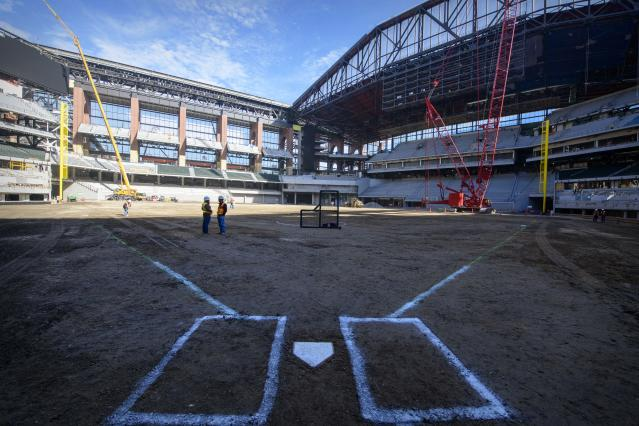 "Globe Life Field, the soon-to-be-home of the <a class=""link rapid-noclick-resp"" href=""/mlb/teams/texas/"" data-ylk=""slk:Texas Rangers"">Texas Rangers</a>, caught fire on Saturday. (Jerome Miron-USA TODAY Sports)"