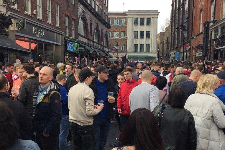Covent Garden was packed with football fans on Saturday afternoon. (Ian Le Breton)