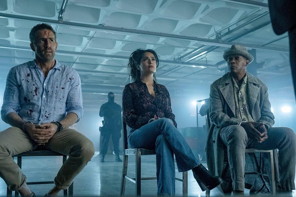"""Salma Hayek believes her greatest action accomplishment was improvising and """"holding my own with Ryan Reynolds and Samuel L. Jackson. It's a thing."""""""