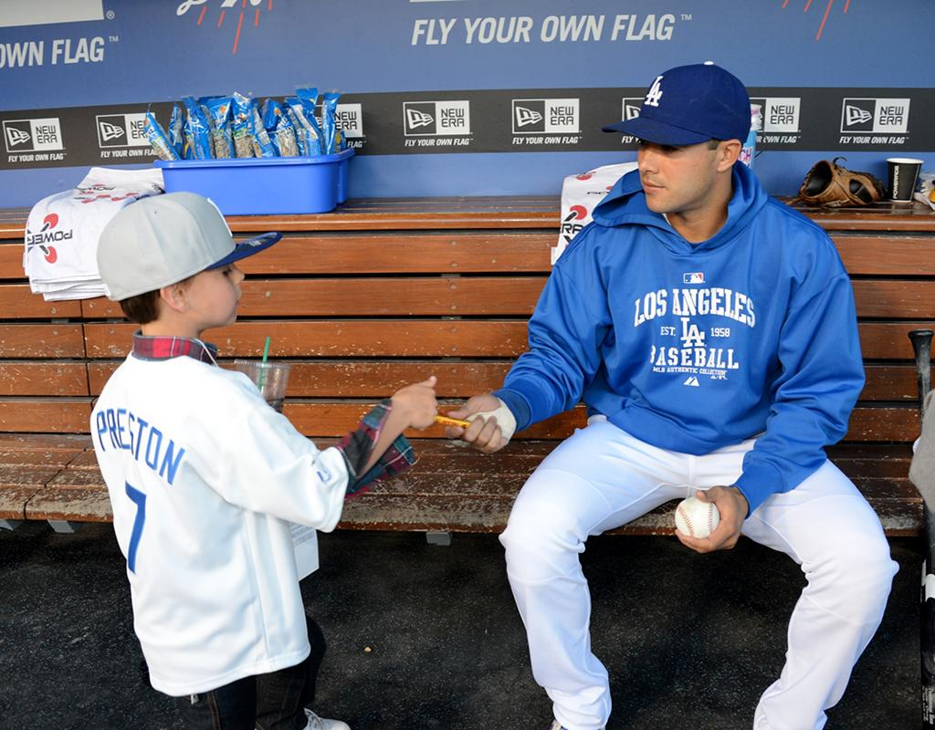Sean even got Ethier to autograph a baseball for him. Pretty cool! (4/17/2013)