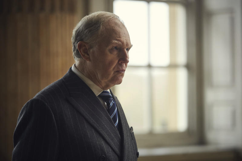 "In this image released by PBS, Tim Pigott-Smith appears in a scene from ""King Charles III,"" airing May 14 on Masterpiece on PBS.  (Drama Republic for BBC and MASTERPIECE/PBS via AP)"