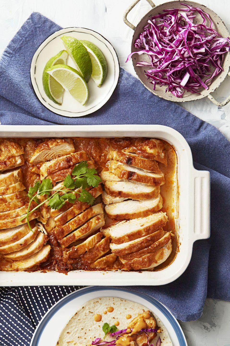 """<p>These chicken tacos prove that peanut sauce makes just about <em>everything</em> taste better.</p><p><em><a href=""""https://www.goodhousekeeping.com/food-recipes/easy/a35261/smoky-peanut-chicken-tacos/"""" rel=""""nofollow noopener"""" target=""""_blank"""" data-ylk=""""slk:Get the recipe for Smoky Peanut Chicken Tacos »"""" class=""""link rapid-noclick-resp"""">Get the recipe for Smoky Peanut Chicken Tacos » </a></em></p>"""