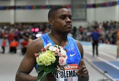 Feb 10, 2018; Boston, Massachussetts, USA; Christian Coleman (USA) poses after winning the 60m in 6.46 during the New Balance Indoor Grand Prix at Reggie Lewis Center. Mandatory Credit: Kirby Lee-USA TODAY Sports