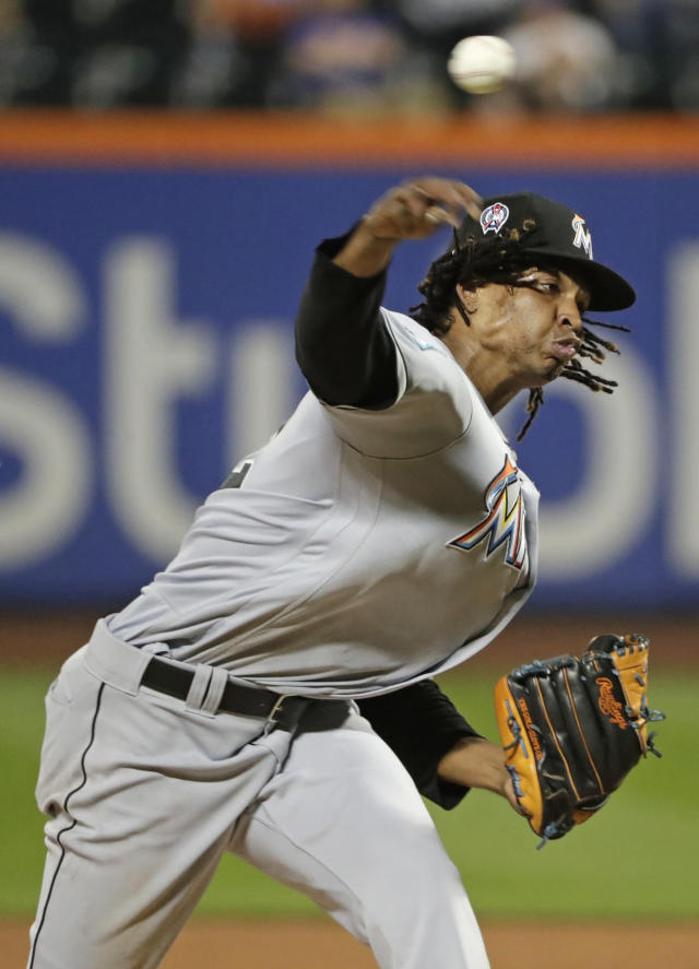 Miami Marlins' Jose Urena delivers a pitch during the fourth inning of a baseball game against the New York Mets Tuesday, Sept. 11, 2018, in New York. (AP Photo/Frank Franklin II)