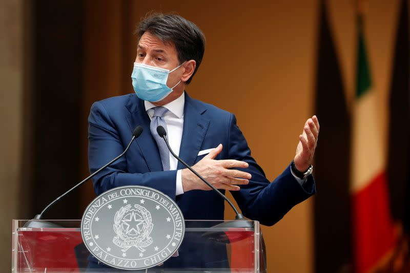 Italian Prime Minister Giuseppe Conte speaks during a news conference on government's new anti-COVID-19 measures, in Rome