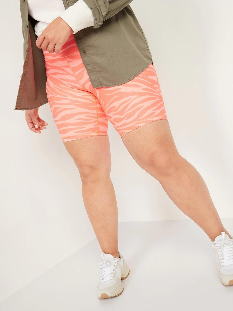 <p>We love the print on these <span>Old Navy High-Waisted Elevate Powersoft Side-Pocket Biker Shorts</span> ($30); they're perfect for spring!</p>