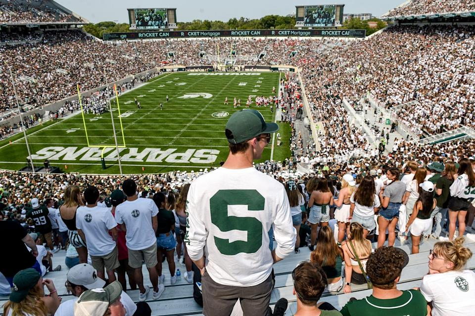 The MSU student section during the third quarter against Youngstown State on Sept. 11, 2021, at Spartan Stadium in East Lansing.