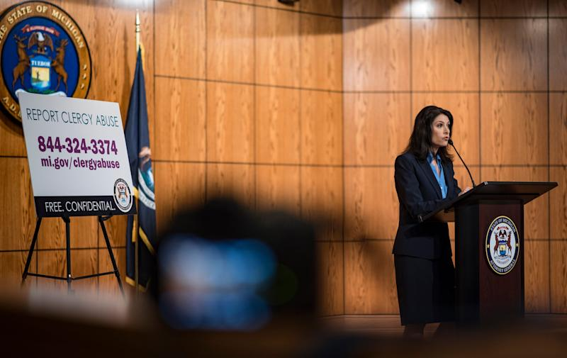 """""""This is just the tip of the iceberg,"""" Michigan Attorney General Dana Nessel says Friday. May 254, 2019, during a presser in Lansing, after announcing five former Michigan priests have been charged with a total of 21 counts of criminal sexual conduct."""