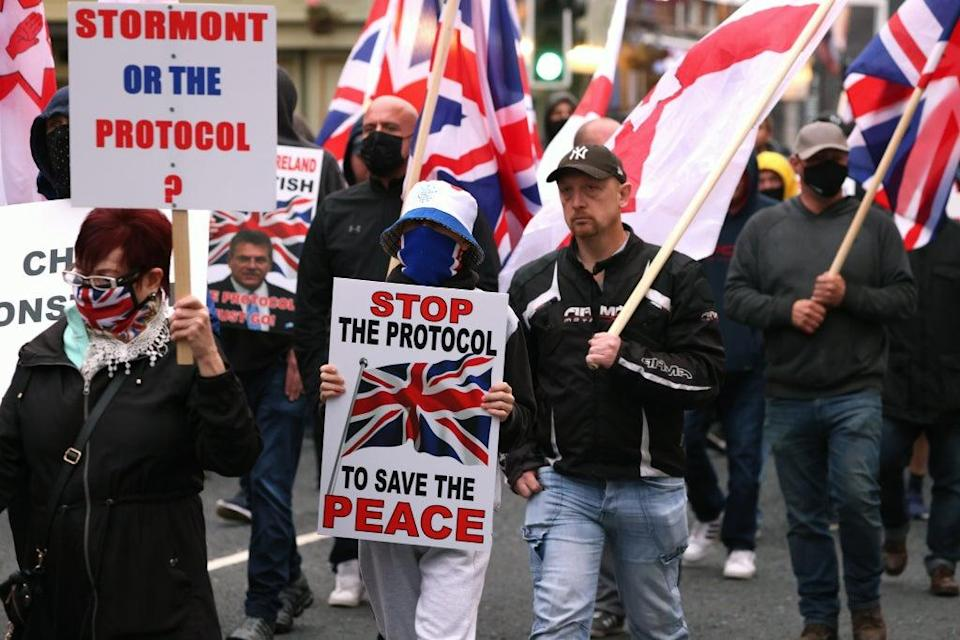 Loyalists claim the protocol has cut Northern Ireland off from the rest of the UK (Peter Morrison/PA) (PA Wire)