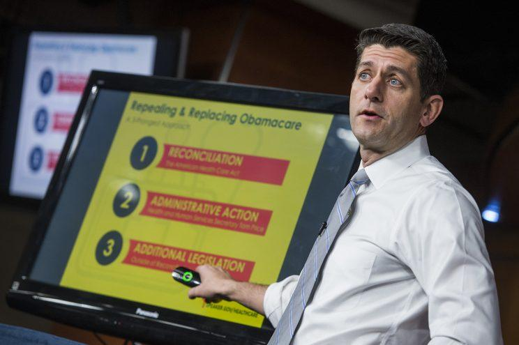 House Speaker Paul Ryan of Wis. uses charts and graphs to make his case for the GOP's long-awaited plan to repeal and replace the Affordable Care Act, Thursday, March 9, 2017, during a news conference on Capitol Hill in Washington. (Photo: Tom Williams/CQ Roll Call/Getty Images)