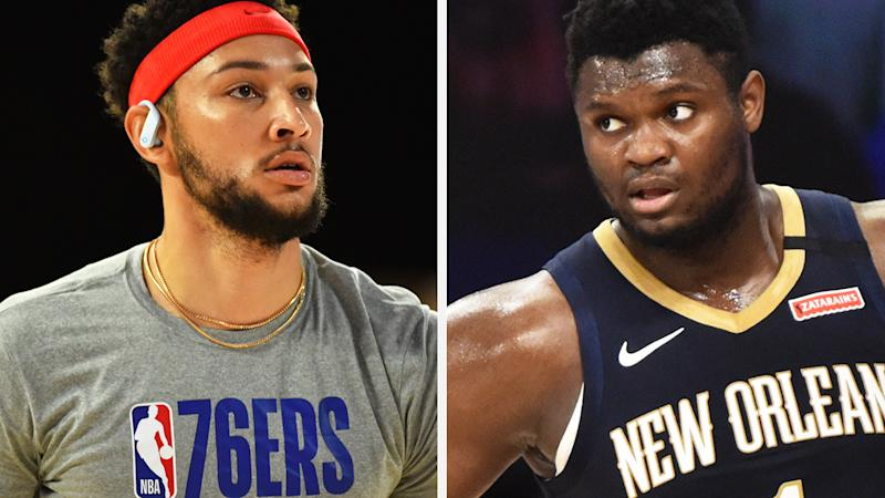 Ben Simmons and Zion Williamson represent two somewhat similar but equally risky fantasy basketball prospects. Pictures: Getty Images