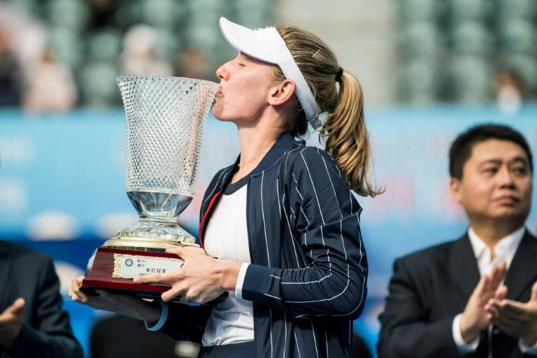 Ekaterina Alexandrova of Russia won her first WTA singles title at the Shenzhen Open tennis tournament in China