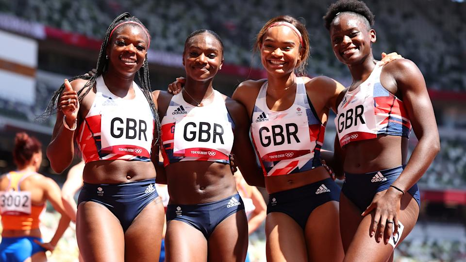 Tokyo 2020 Olympics - Athletics - Women's 4 x 100m Relay - Round 1 - Olympic Stadium, Tokyo, Japan - August 5, 2021. Asha Philip of Britain, Imani Lansiquot of Britain, Dina Asher-Smith of Britain and Daryll Neita of Britain smile after Heat 1 REUTERS/Lucy Nicholson