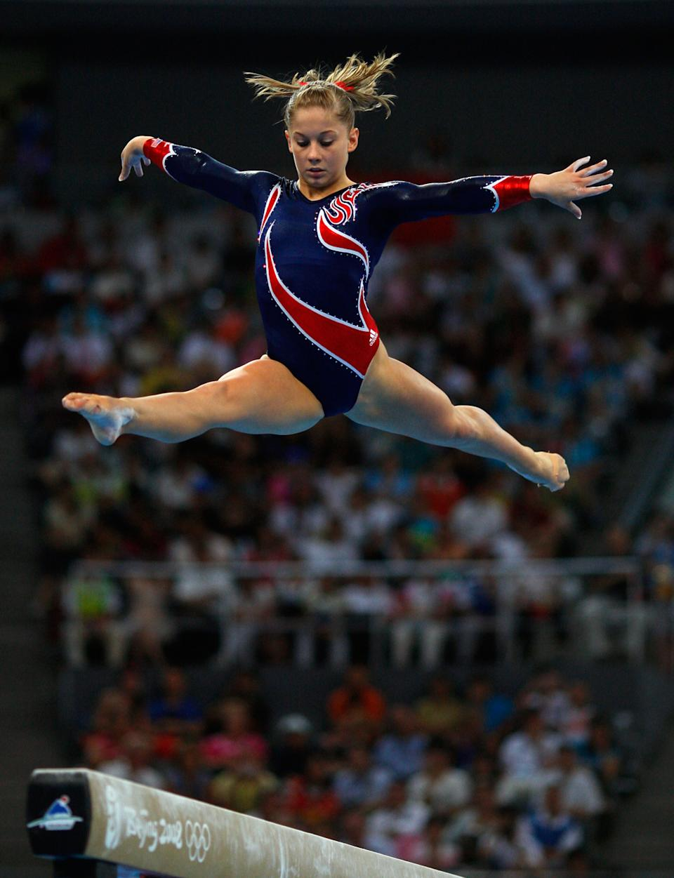 BEIJING - AUGUST 19: Shawn Johnson of the Untied States competes in the Women's Beam Final at the National Indoor Stadium on Day 11 of the Beijing 2008 Olympic Games on August 19, 2008 in Beijing, China. (Photo by Cameron Spencer/Getty Images)