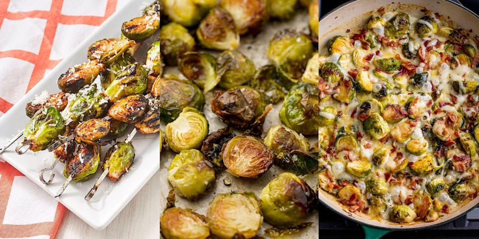 """<p>Brussels sprouts are often dismissed for being 'boring' or 'bitter', but we completely disagree! They can be <a href=""""https://www.delish.com/uk/cooking/recipes/a31094164/best-sauteed-brussel-sprouts-recipe/"""" rel=""""nofollow noopener"""" target=""""_blank"""" data-ylk=""""slk:sautéed"""" class=""""link rapid-noclick-resp"""">sautéed</a>, <a href=""""https://www.delish.com/uk/cooking/recipes/a28996423/best-roasted-brussel-sprouts-recipe/"""" rel=""""nofollow noopener"""" target=""""_blank"""" data-ylk=""""slk:roasted"""" class=""""link rapid-noclick-resp"""">roasted</a> or even <a href=""""https://www.delish.com/uk/cooking/recipes/a33319526/grilled-brussels-sprouts-recipe/"""" rel=""""nofollow noopener"""" target=""""_blank"""" data-ylk=""""slk:grilled"""" class=""""link rapid-noclick-resp"""">grilled</a>, and make the most delicious side dishes (wait until you see the <a href=""""https://www.delish.com/uk/cooking/recipes/a28924372/cheesy-brussels-sprout-casserole-recipe/"""" rel=""""nofollow noopener"""" target=""""_blank"""" data-ylk=""""slk:Cheesy Brussel Sprouts Bake"""" class=""""link rapid-noclick-resp"""">Cheesy Brussel Sprouts Bake</a>). They're super easy to whip up and often pair perfectly with a range of main meals. </p>"""