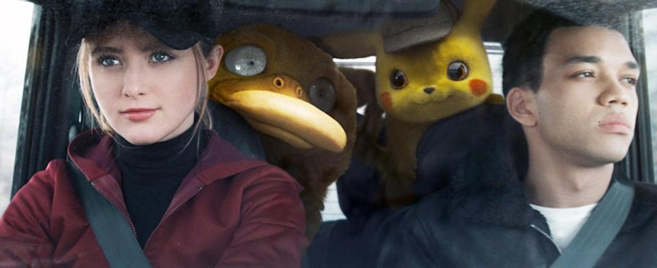<p><strong>For Lucy:</strong> A red hoodie with black jeans and a pulled-back ponytail are the essentials for this <strong>Detective Pikachu</strong> costume. Wispy bangs and a determined 'tude will get you all the way. </p> <p><strong>For Tim:</strong> To pull off the true Tim Goodman style, you will need a black leather jacket with fur trim and a white tee with the iconic design. Now get out there and save the day!</p>