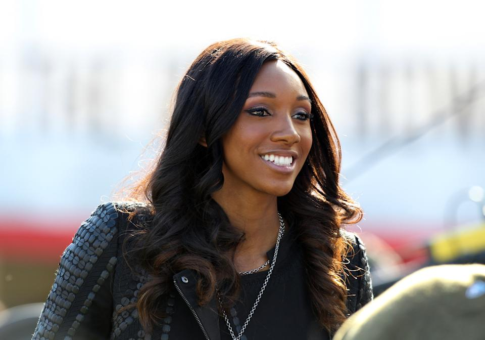 Maria Taylor before the Rose Bowl game of Stanford versus Iowa at the Rose Bowl in Pasadena , CA. (Photo by Adam Davis/Icon Sportswire) (Photo by Adam Davis/Icon Sportswire/Corbis/Icon Sportswire via Getty Images)