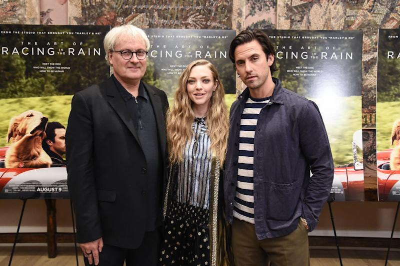 "NEW YORK, NEW YORK - AUGUST 05: Simon Curtis, Amanda Seyfried and Milo Ventimiglia attend ""The Art Of Racing In The Rain"" New York Premiere at the Whitby Hotel on August 05, 2019 in New York City. (Photo by Steven Ferdman/WireImage)"