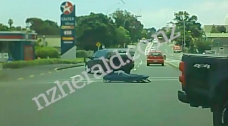 A New Zealand driver's dashcam captures a gurney sliding along the road. Source: NZ Herald