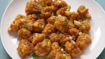 """<p>These sweet and spicy florets reconfirms the power of cauliflower. </p><p>Get the recipe from <a href=""""https://www.delish.com/cooking/recipe-ideas/recipes/a47636/honey-garlic-cauliflower/"""" rel=""""nofollow noopener"""" target=""""_blank"""" data-ylk=""""slk:Delish"""" class=""""link rapid-noclick-resp"""">Delish</a>.</p>"""